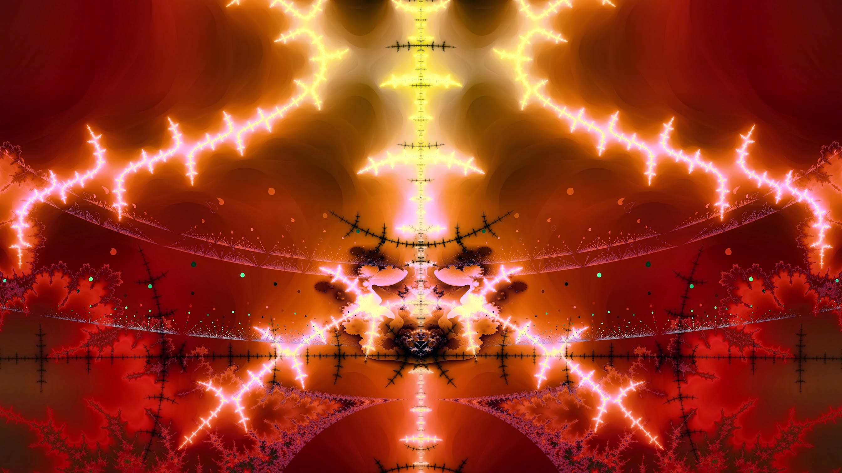 "(Click to enlarge.) Same ""Coliseum Fractal"", except for a slightly wider angle in order to see the ""fiery clouds"" better."