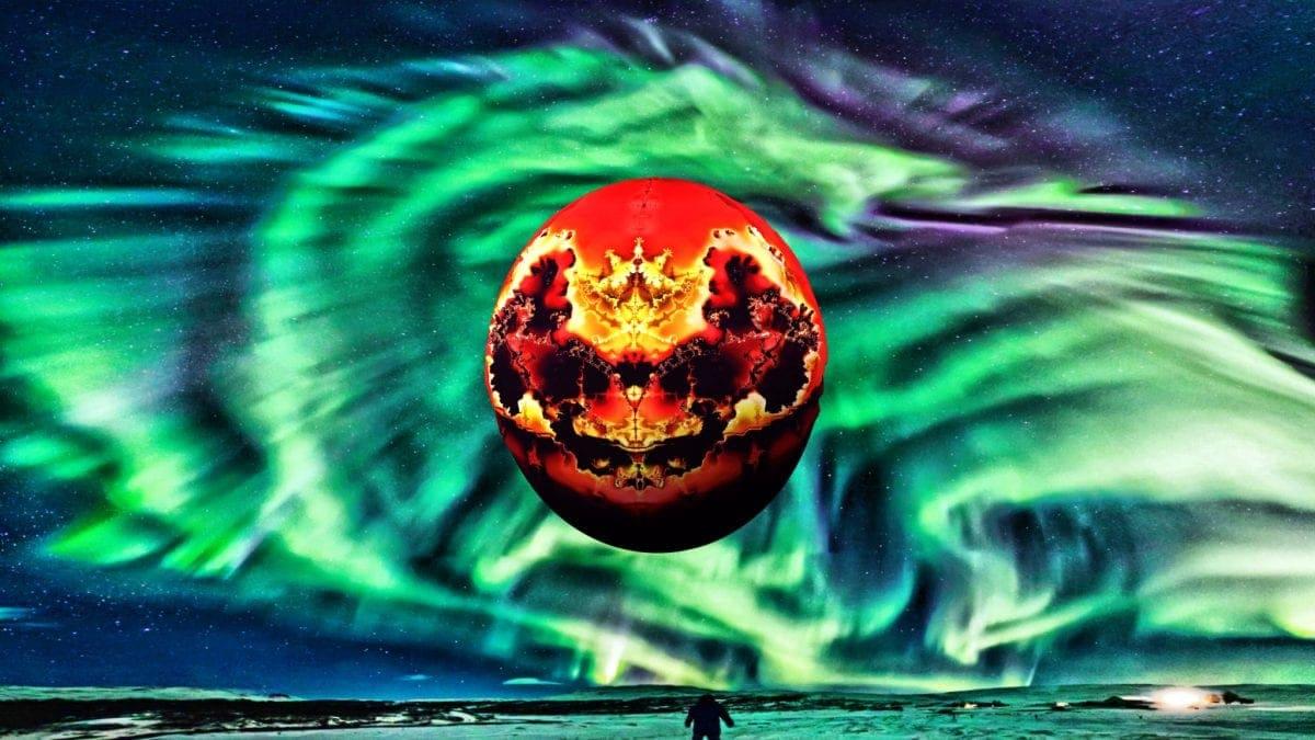 8. Meteor strikes dragon mountain-mural & dragon-aurora appears in sky