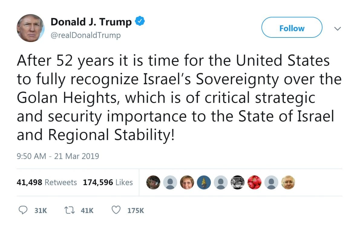 17. Trump recognizes Golan Heights, which includes Mt Hermon