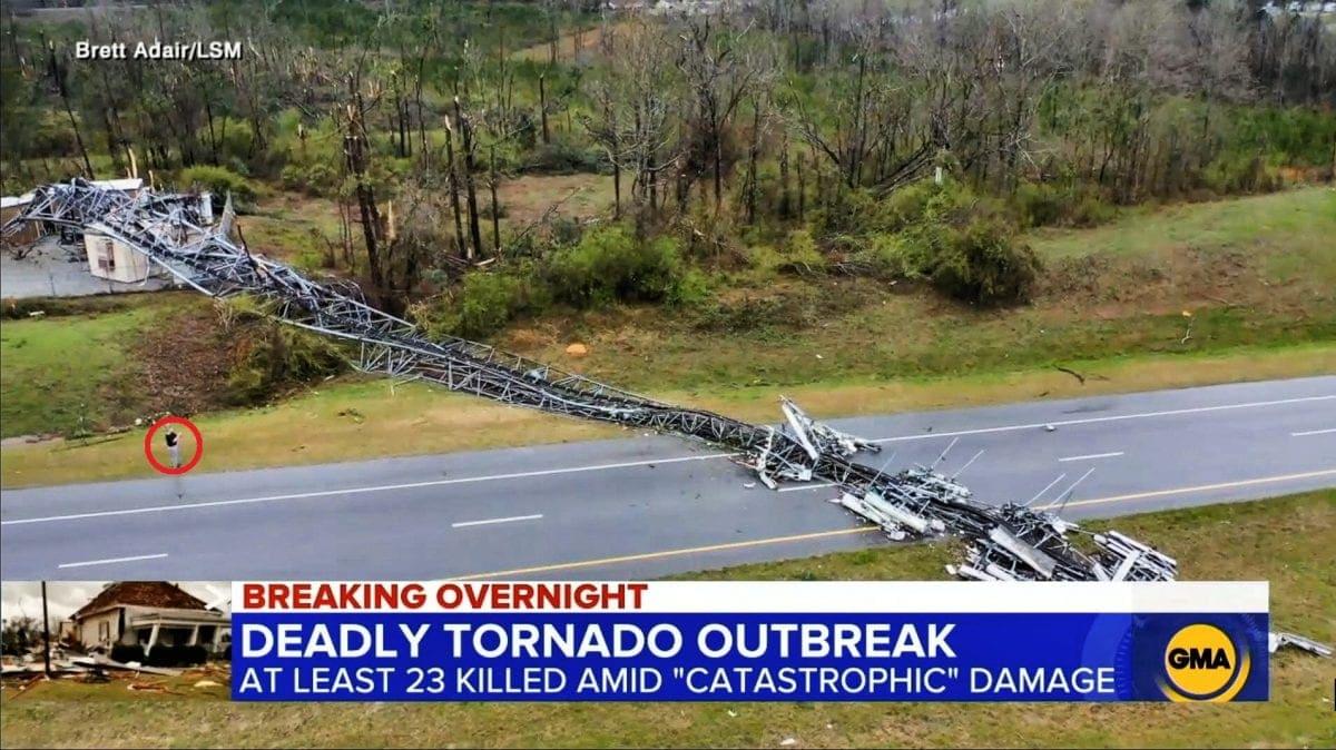 16. Severe tornado topples Tower of Salem (23 die in outbreak)