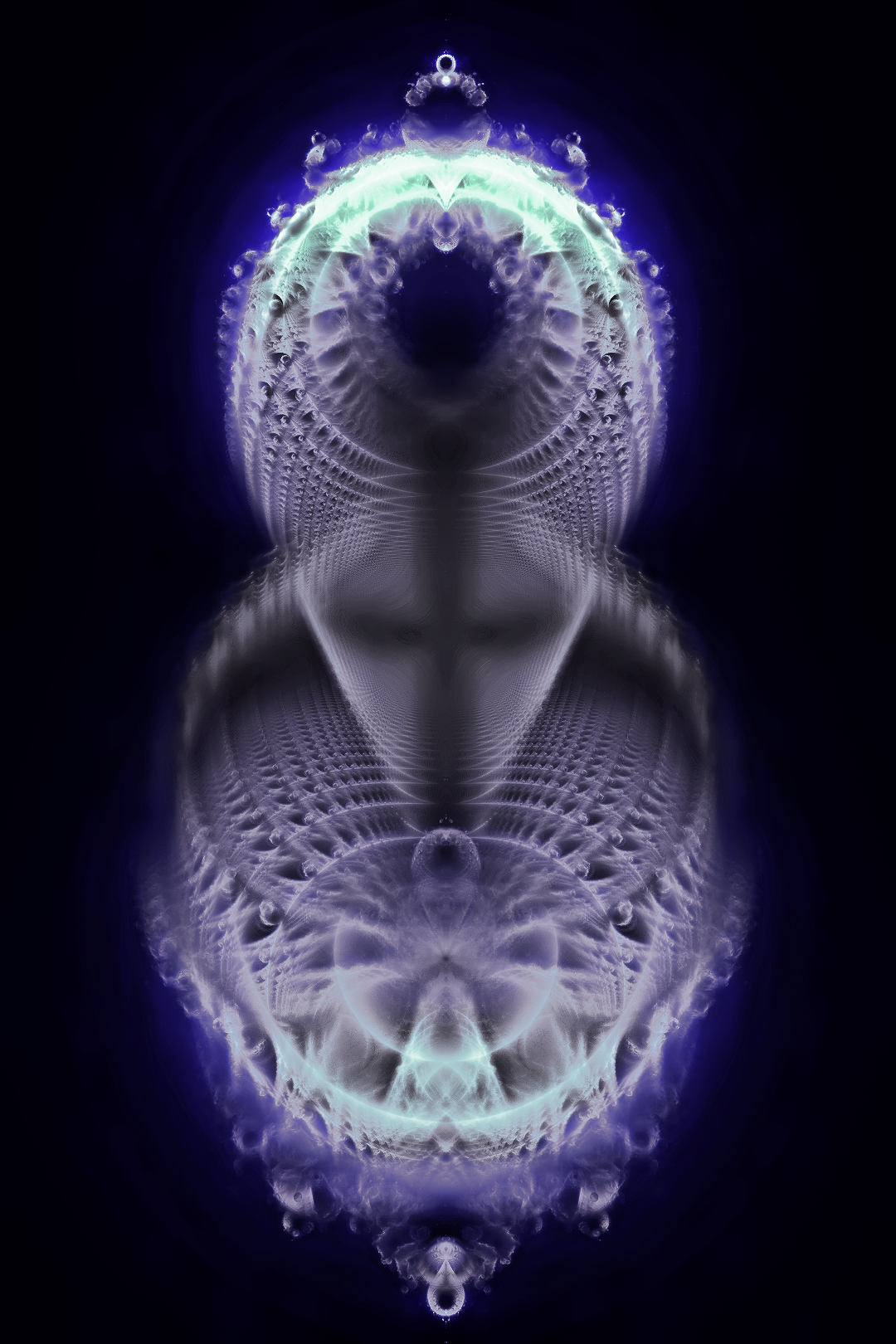 """Christobrot Fractal at 700 million iterations. (Raw form) Set to starting pint at one rather than zero as is the so-called """"Buddhabrot"""" fractal."""
