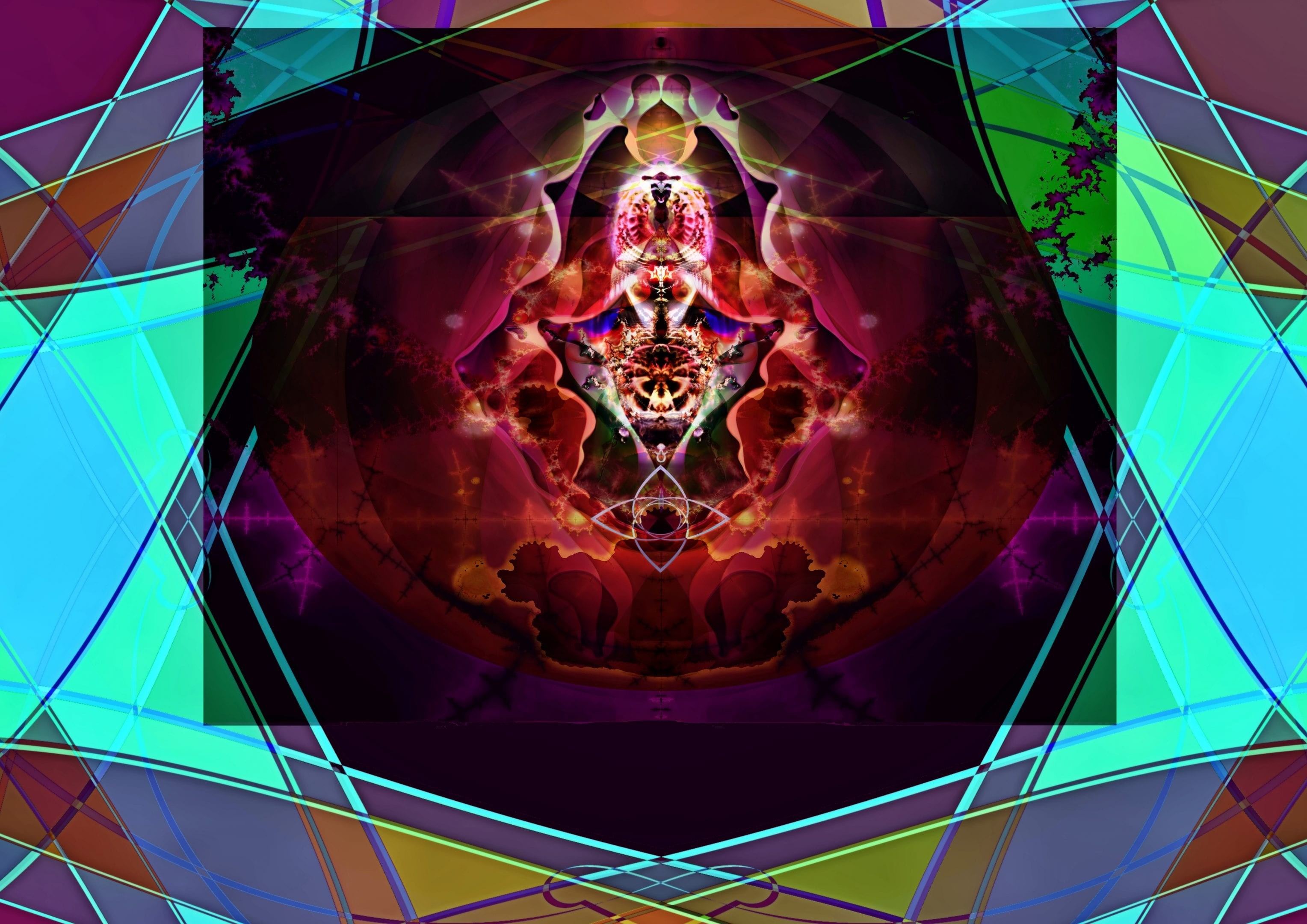 Fractal image of throne room with altar at center