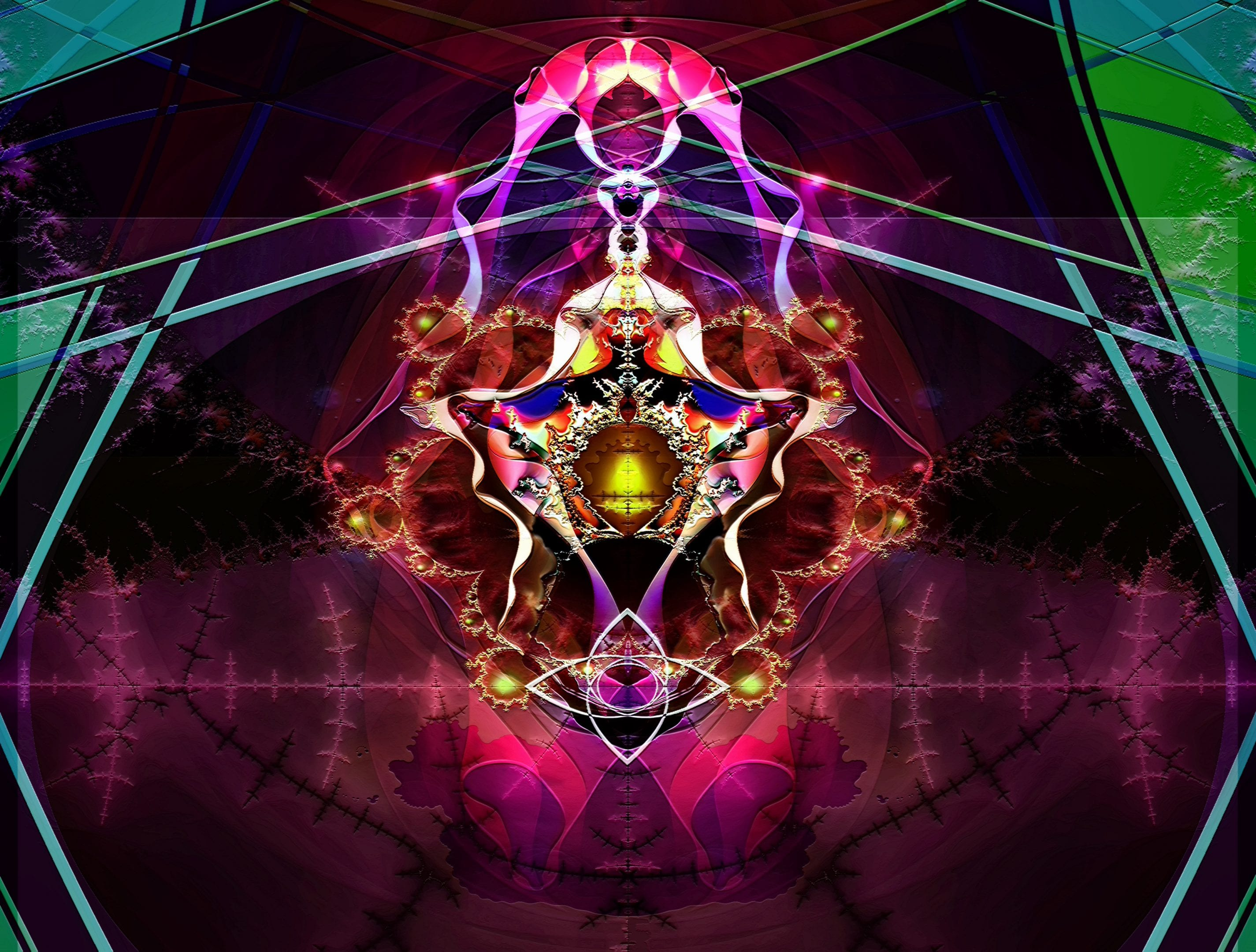 Fractal image of throne room with altar at center. Image only shows part of what is there in order to give an unobstructed view of things that would otherwise have been overlooked in the complexity.