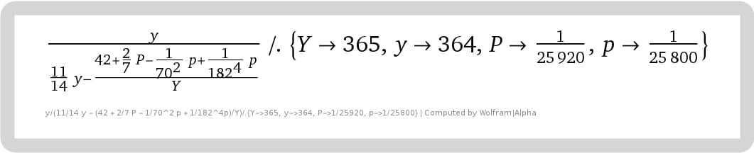 As above except with the half-364. The same can be shown for 365p and 361P as here for 364p and 360P. All maintain about the same accuracy, with 364p the most accurate