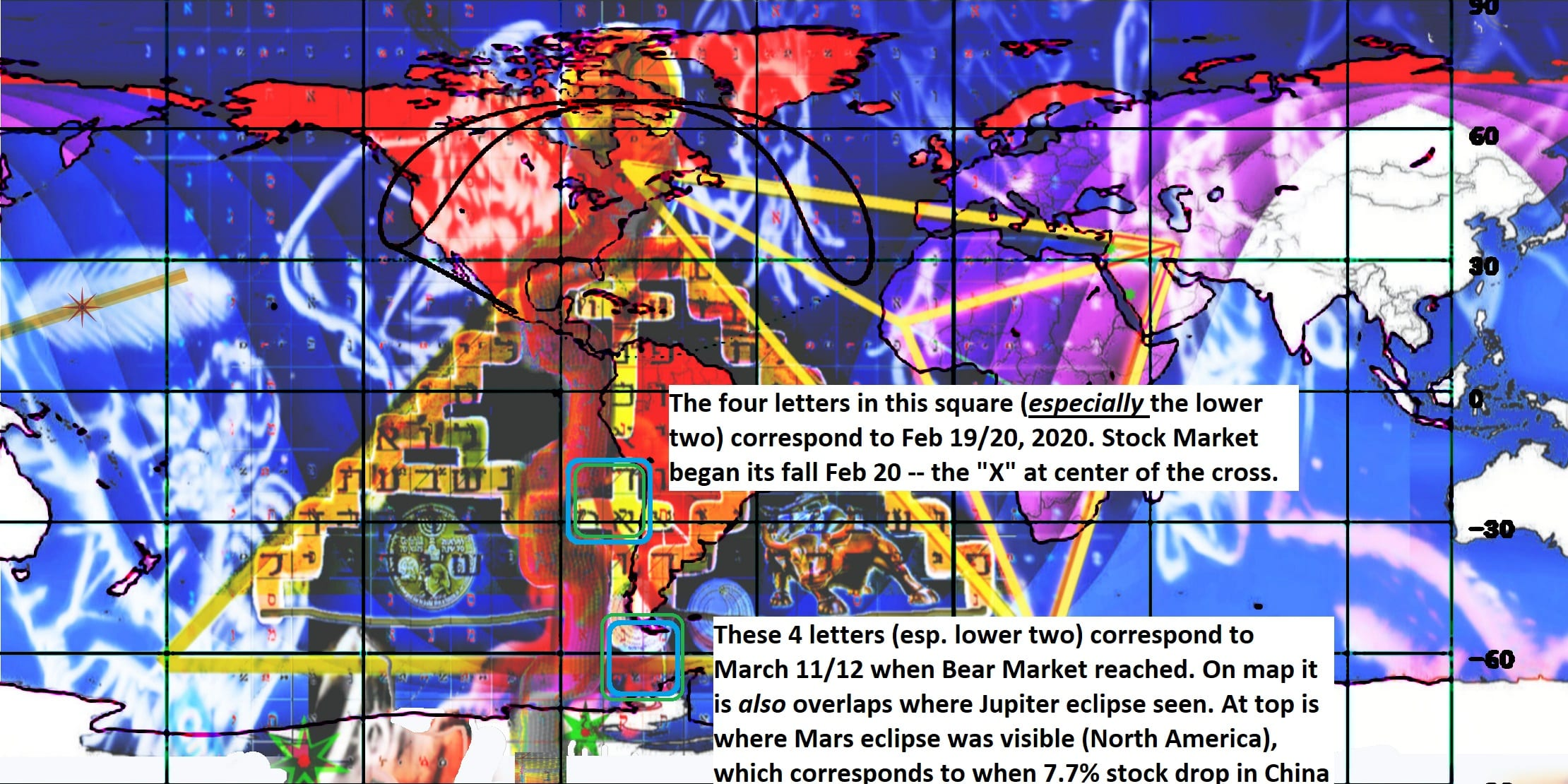 Prophetic Map showing location where Mars and Jupiter eclipse behind moon were visible that occurred one day apart -- just before Stock Market collapsed -- and was posted two days before the collapse